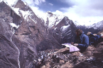 wildlife biologist working in a high mountain study area