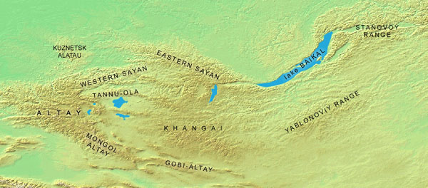 a map of the Altai-Sayan Mountains in the Russia