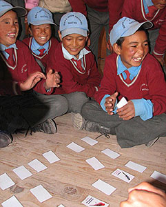 Ladakhi children playing the memory game