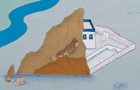 Detail from the poster showing a village with a poor snow leopard prey base