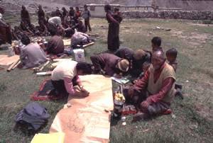 village meeting in Ngora-Khorya Village, Qomolanagma Nature Reserve, Tibet