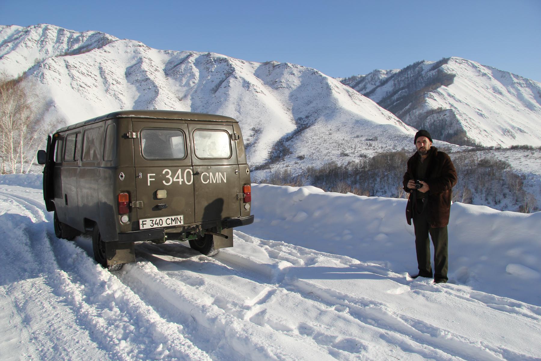 Sergey Starikov with his car in Katon