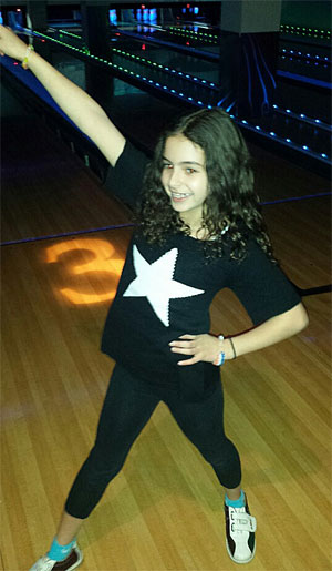 Ava at bowling alley