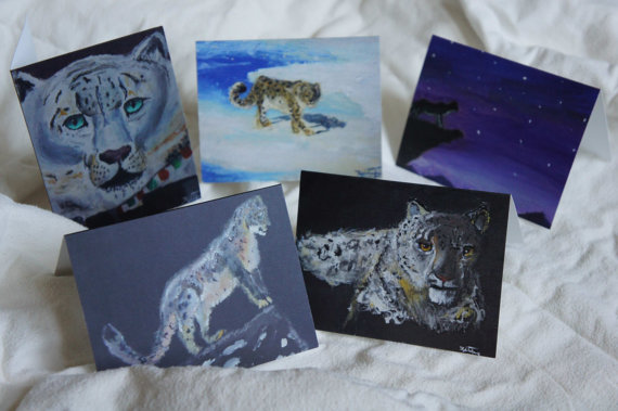 5 snow leopard notecards