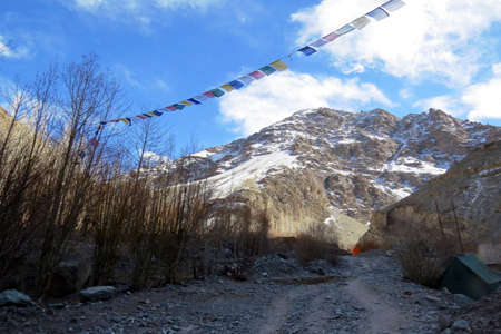 Prayer flags with mountain in background