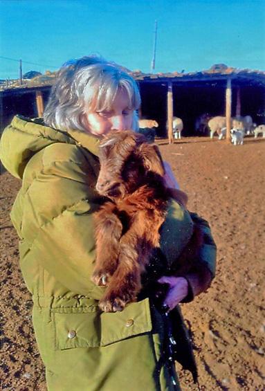 Janet holding goat kid