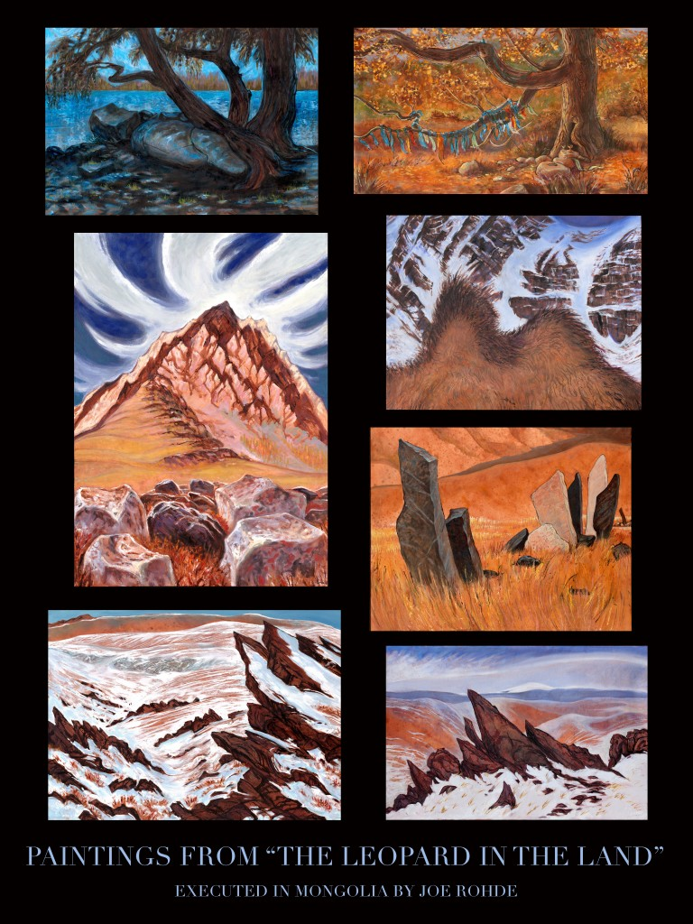 Collage of 7 of Joe Rohde's paintings of Mongolian landscape
