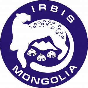 Irbis Mongolia logo- snow leopard on blue background with Irbis Mongolia written around it