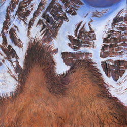 painting of a a camel's 2 humps with a snow mountian in background