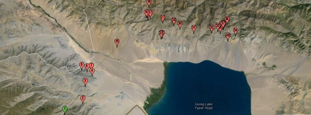 map with numbered points marking where snow leopard traveled