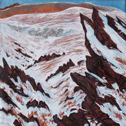 painting of red, rocky outcrop and red plains covered in snow