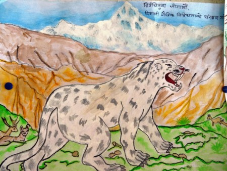 Painting of a snow leopard in front of mountains