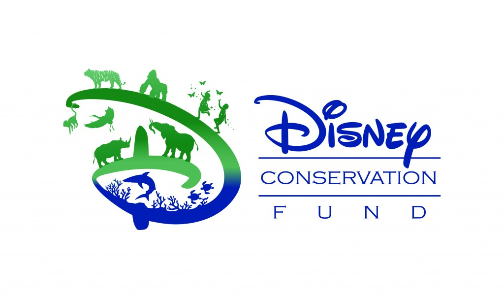 Disney Conservation Fund written in blue and green ink with several animals in the D of Disney