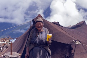 Manang villager with FoxLight